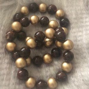 Brown and gold bead stretchy bracelet